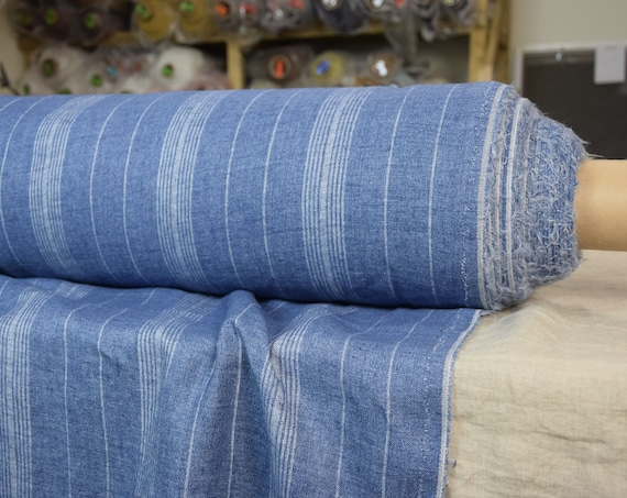 Pure 100% linen fabric Nata Blue Haze Striped 250gsm. Blue melange with gray strips. Quite heavy weight, densely woven, washed-softened.