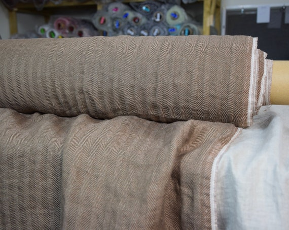 WHOLESALE. Pure 100% linen fabric Sigma Rosy Nut Brown Herringbone 220gsm. Broken twill woven from dark brown & rosy-brown. Washed-softened.