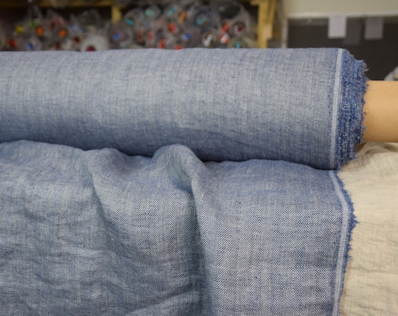 Pure 100% linen fabric Paloma Lazurite Blue Herringbone 220gsm. Woven from undyed flax and blue. Washed-softened.