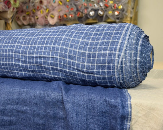 100% pure linen fabric Vita Blue Windowpane Checks 240gsm. Double-faced. Double-sided. Washed-softened.