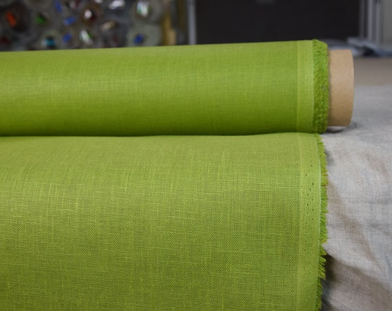 Pure 100% linen fabric Nata Water-Pro Parrot Green 280gsm. Greenery. Water&mud repellent, waterproof. Water-resistant. Water Proof Canvas.