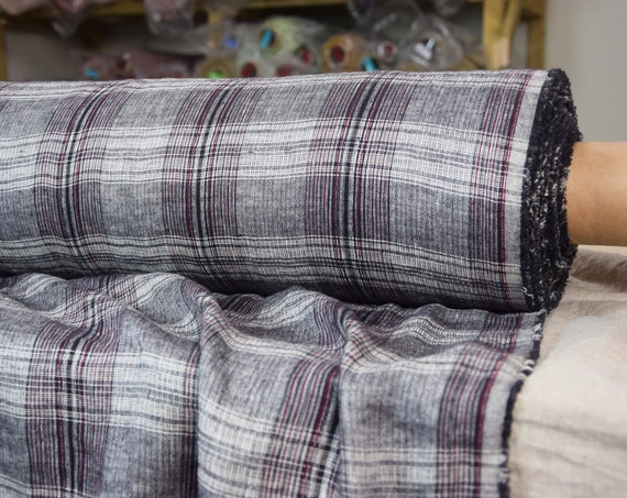 Pure 100% linen fabric Margarita Plaid Check 190gsm. Gray, purple and red colors. Middle weight, dense, washed-softened.