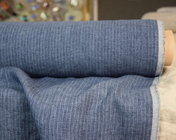 Pure 100% linen fabric Margarita Blue Striped 190gsm. Melange with pinstripes. Washed-softened.