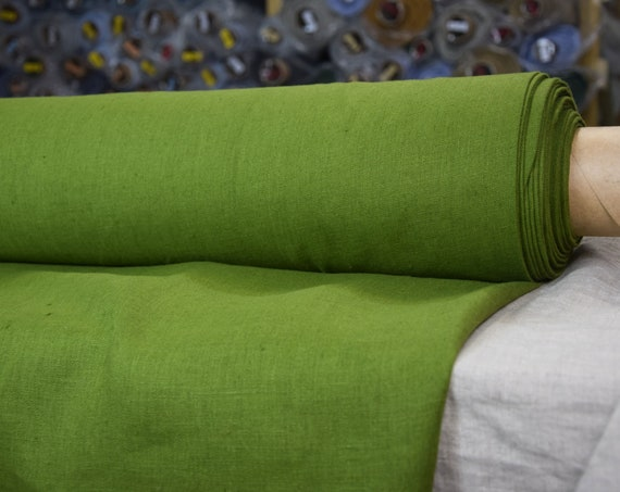 Pure 100% linen fabric Gloria Peridot Green 190gsm. Zesty yellowish-green. Middle weight, densely woven, washed-softened.