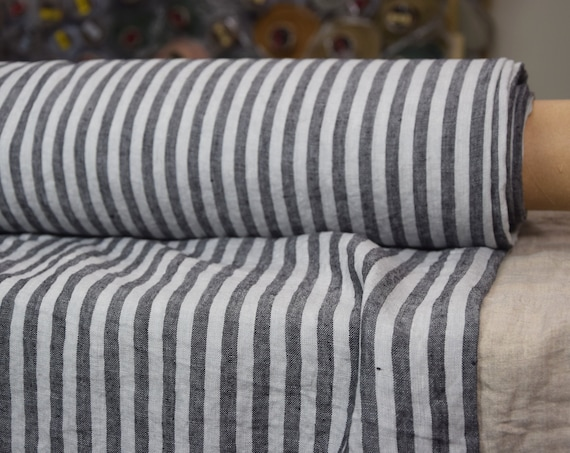 Pure 100% linen fabric Regina Bengal Stripes Morning Mist 130gsm. Gray and pale blue-gray 8mm stripes. Light weight, washed-softened.