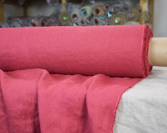 Pure 100% linen fabric Gloria Rose Red 190gsm. Middle weight, densely woven, washed-softened.