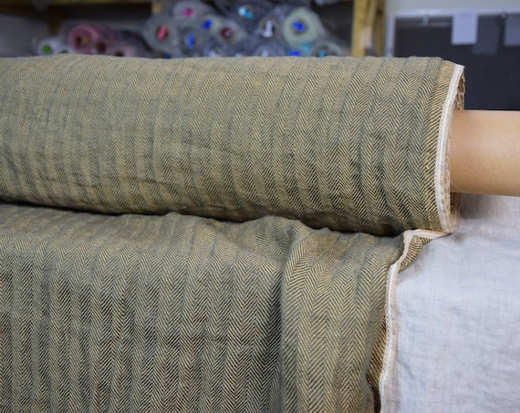WHOLESALE. Pure 100% linen fabric Sigma Golden Bark Herringbone 220gsm. Broken twill, green and golden-brown colors. Washed-softened.