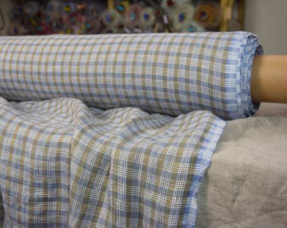 Pure 100% linen fabric Aura Dupplin Checks 125gsm. Blue-white-mustard colors. Light weight, washed-softened, densely wowen.