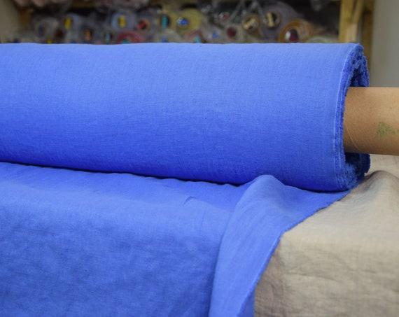 Pure linen fabric Gloria Regatta Blue 190gsm. 100% linen. Strong ultramarine blue color. Washed-softened.