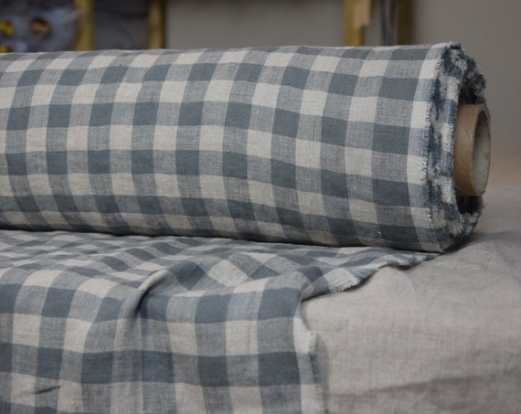Pure 100% linen fabric Stella Gray Chessboard 180gsm. Gingham 2cm cells, gray/undyed flax. Washed-softened.