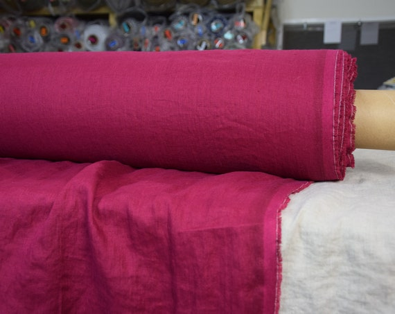 WHOLESALE. Pure 100% linen fabric Aura Red Plum 125gsm. Red color, blue-purple undertone. Washed-softened.