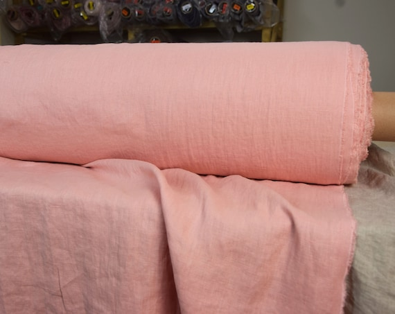 Pure 100% linen fabric Gloria Congo Pink 190gsm. Warm soft shade of rose, coral or salmon undertone. Middle weight, dense, washed-softened.