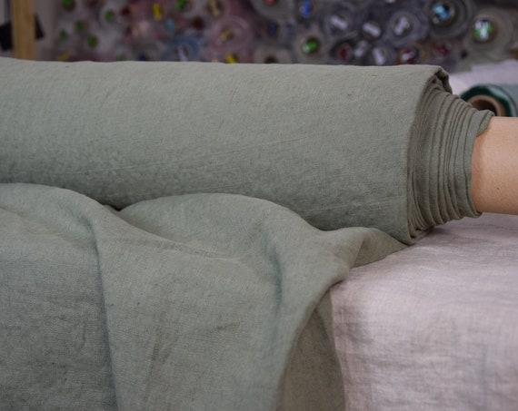 Pure 100% linen fabric Gloria Artichoke Green 190gsm.  Greenish-gray color. Densely woven, washed-softened.