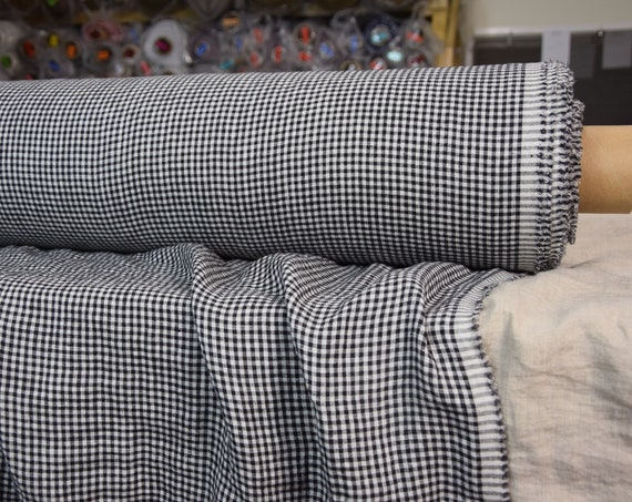 Pure 100% linen fabric Aura Black Gingham 125gsm. Small white-black check 3mm. Light weight, thin, washed-softened.