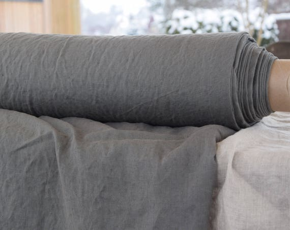 Pure 100% linen fabric Gloria Steel Gray 190gsm. Quite dark gray color. Plain weave, washed, softened.