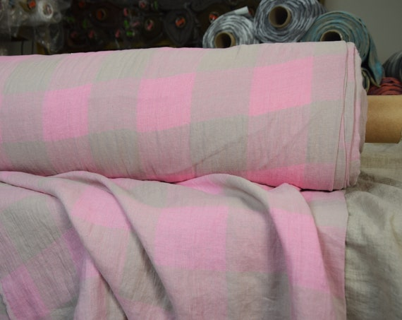 Pure 100% linen fabric Margarita Gameboard Pattern Pink-Gray 190gsm. Bright pink and gray 8cm checks. Washed-softened.