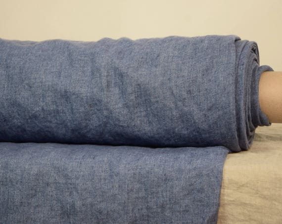 """SWATCH (sample) 12x12cm (5x5""""). Pure 100% linen fabric Luna Aged Blue 290gsm. """"Wash-out"""", aged look."""