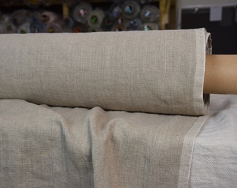 Pure 100% linen fabric Luna Natural 290gsm (8.55 oz/yd2). Woven from undyed flax, gray-taupe earthy color. Heavy, washed-softened.