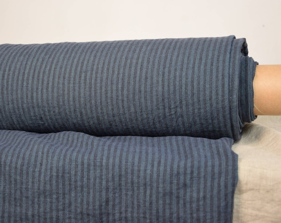 Pure 100% linen fabric Terra Blue/Black Striped 210gsm. Dark blue striped, 4mm stripes. Middle weight, washed-softened, plain weave.