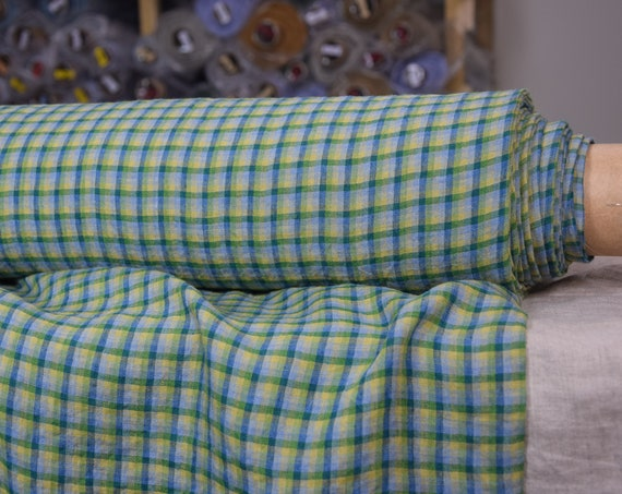 Pure 100% linen fabric Aurora Windowpane Check Green 160gsm. Chekered in green yellow blue gray.  Washed-softened.