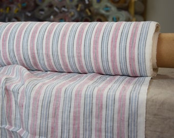 Pure 100% linen fabric 140gsm. Striped - white, blue, red, green, gray. Middle weight, dense, washed-softened.