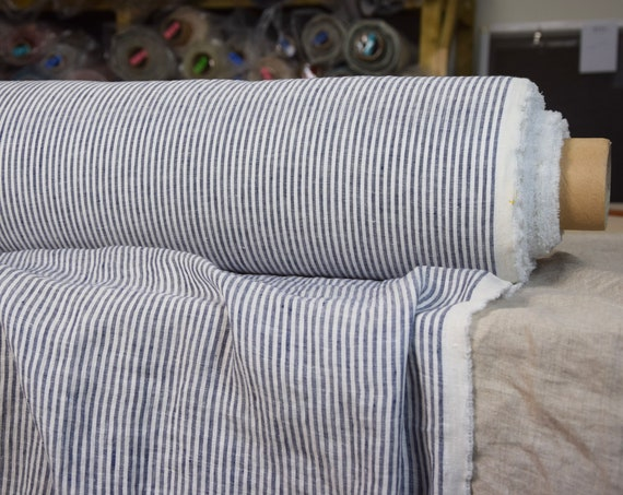 Pure 100% linen fabric Aura Blue Striped 125gsm. White-blue stripes 3mm. Light weight, washed-softened.
