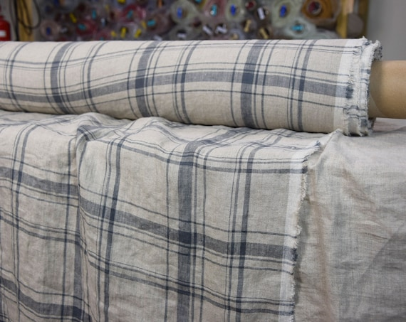 Pure 100% linen fabric Augusta Natural Plaid 145gsm. Gray lines on natural not dyed flax. Dense, washed-softened.