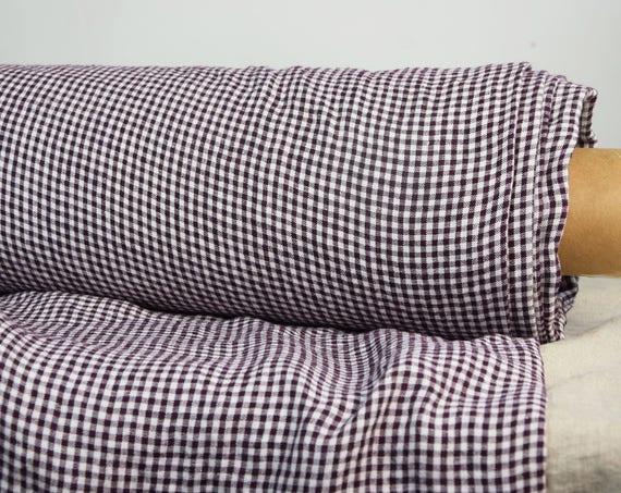 Pure 100% linen fabric Regina Purple Gingham 130gsm. Small 3mm checks in grayish-purple and white. Mini gingham. Washed-softened.