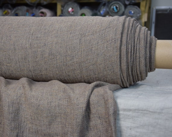 Pure 100% linen fabric Montana Oak Bark 240gsm. Linen tweed woven from light brown and dark brown yarns, earthy tone. Washed-softened.
