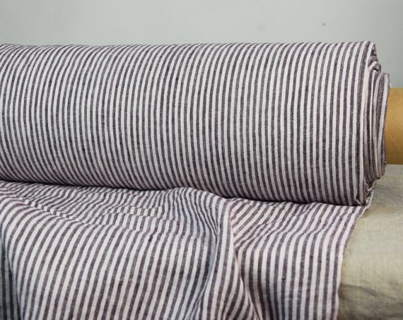 Pure 100% linen fabric Regina Gray Purple Striped 130gsm. 3mm stripes. Light weight, washed-softened.