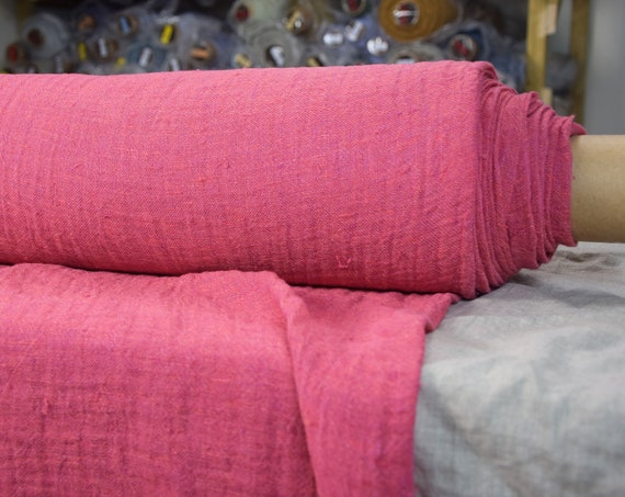 Linen fabric Pura Cyclamen Pink. Thin semi-sheer gauze 100% linen 110gsm. Loosely woven, open weave.  Washed-softened.