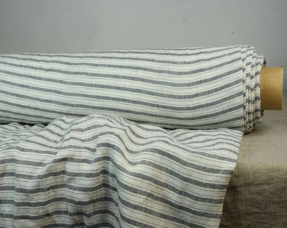 Pure 100% linen fabric Aurora Gray Horizontal Stripes 160gsm. Quite light weight, pre-washed, softened.