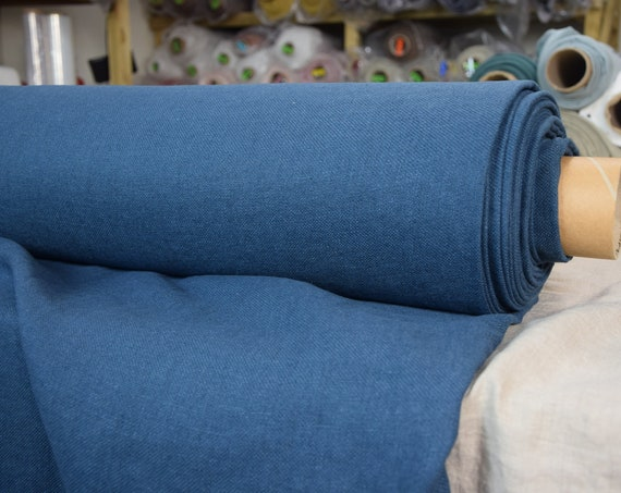 100% linen fabric Prana Legion Blue 380gsm. Washed/Pre-shrunk. Eco-friendly material for upholstery, curtains, furnishing, accessories.
