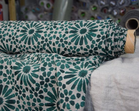 Pure 100% linen fabric Gloria Green Flowers 200gsm. Green pattern on undyed flax background. Washed-softened.