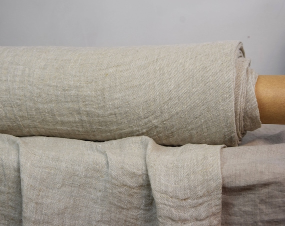 Linen fabric Pura Gray-Beige Melange. Thin semi-sheer gauze. 100% linen 110gsm. Plain sparse weave. Washed-softened.
