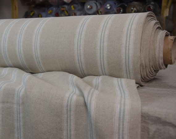 """SWATCH (sample) 12x12cm (5x5""""). Pure 100% linen fabric Elba Greenish Stripes 190gsm. Undyed flax. Washed-softened."""