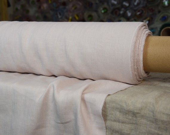 Pure 100% linen fabric Astra Whisper Pink 170gsm. Pale pastel rose color. Middle weight, dense, washed-softened.