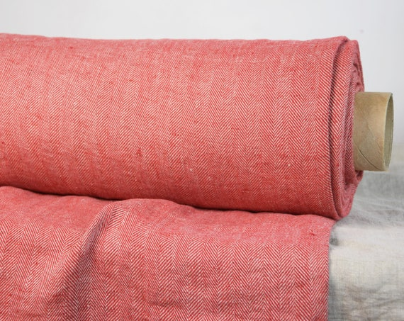 Pure 100% linen fabric Montana Red Herringbone 240gsm. Made from uncolored flax and red colors. Medium-heavy weight, softened, washed.