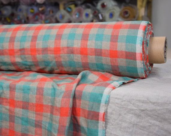 Pure 100% linen fabric Margarita Buffalo Checks Red Green 190gsm. Red/green/gray 2cm check. Washed-softened
