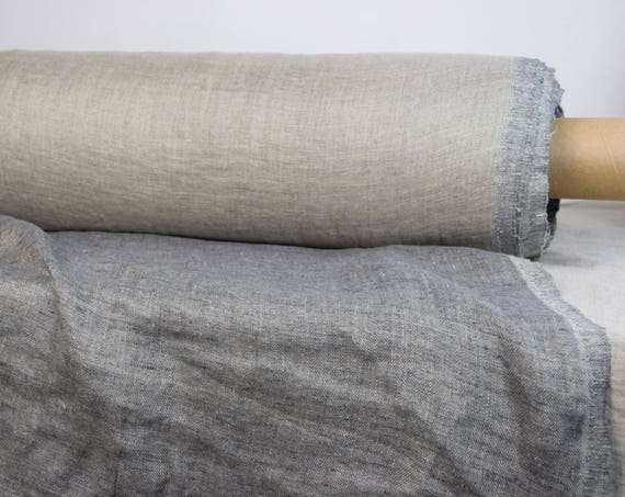 Pure 100% linen fabric Vita Sharkskin Gray 240gsm. Fluffy double-faced. One side is gray melange, other side - undyed flax. Washed-softened.