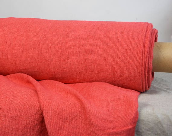 Pure 100% linen fabric Alma Strawberry 200gsm. Strawberry red melange. Satin weave. Medium  weight, washed-softened.