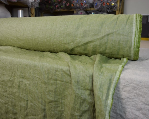 Pure 100% linen fabric Margarita Spring Green. 190gsm. Melange made from green and pale gray. Shade of Spring. Washed-softened.