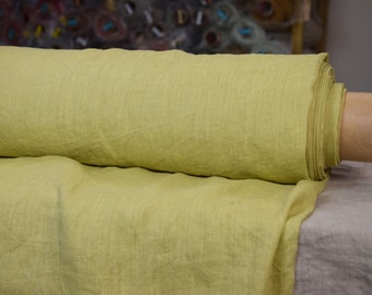 Pure 100% linen fabric 130gsm. Pistachio Green. Washed-softened, densely woven.