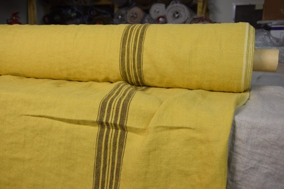 100% linen fabric Pera Mustard, Brown Stripe 350gsm. French grain sack pattern. Washed/Pre-shrunk. Eco-friendly heavy thick material.