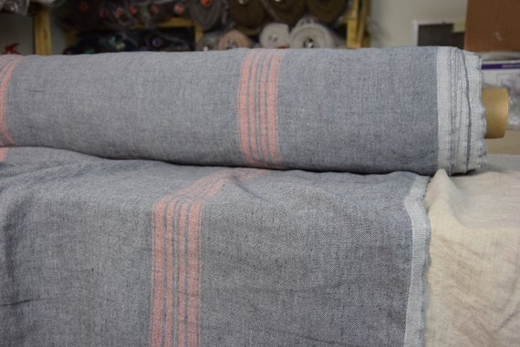 100% linen fabric Pera Gray-Blue Melange, Red Stripe 350gsm. French grain sack pattern. Washed/Pre-shrunk. Eco-friendly heavy thick material
