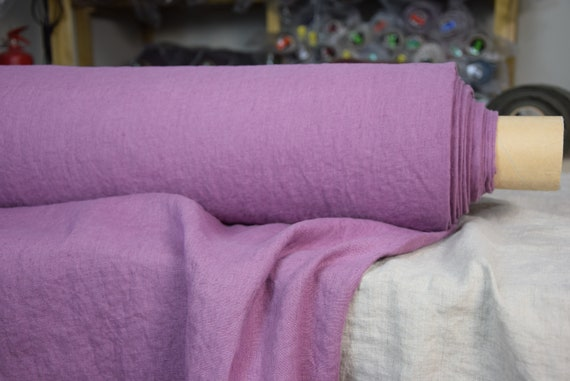 Pure 100% linen fabric Gloria Wild Orchid 190gsm. Bright rich purple color of the orchid flower. Washed, softened.