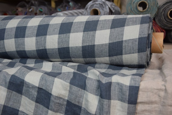 Pure 100% linen fabric Margarita Chessboard Check Blue-Gray 190gsm.  Dark blue-gray and light gray 4.50cm checks. Washed-softened.