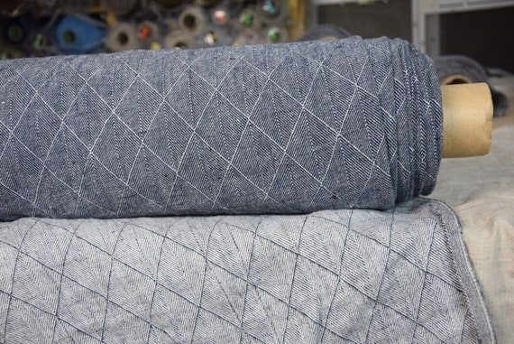 Pure 100% linen fabric Bella Blue-Gray 300gsm. Herringbone/rhombus pattern woven from white and blue-gray. Washed-softened.