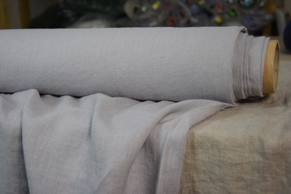 Pure 100% linen fabric Gloria Moonshine Gray 190gsm. Soft shade of pale gray, cool but not too bluish. Washed-softened, pre-shrunk.