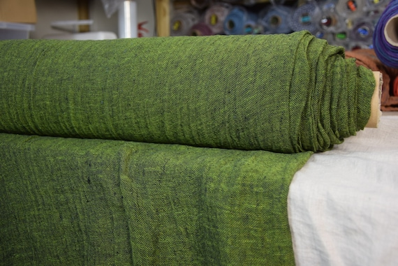 Linen fabric Pura Blackened Greenery Melange. Thin semi-sheer gauze. 100% linen 110gsm. Open weave (loosely woven). Washed-softened.